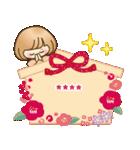 お正月♡自由に名前♪おかっぱ女子の年賀状(個別スタンプ:18)