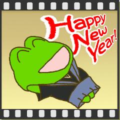 動く▶あけおめ!お正月!!カエルのスタンプ
