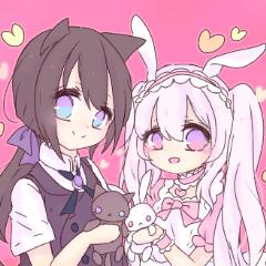仲良しネコくんとウサギちゃん