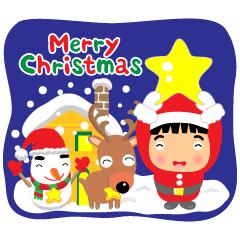 元気な男子のクリスマス年末年始の挨拶