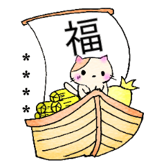 水彩タッチのねことうさぎ カスタム冬