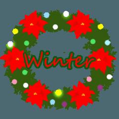 冬遊びスタンプ(英語版)