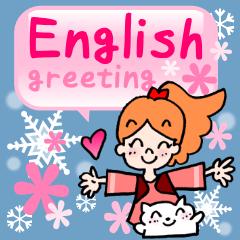 [LINEスタンプ] 大人女子の英語の挨拶!使うと雪が現れる!