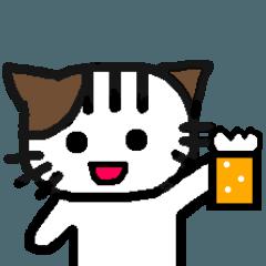 手書きのネコが飲みに行きたがってます。2