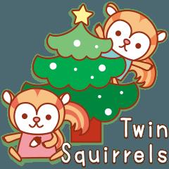 「Twin Squirrels」冬も元気な子リスたち