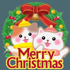 [LINEスタンプ] 4匹のぽちゃりねこ「クリスマス&お正月」