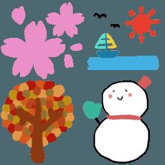 1年中使える春夏秋冬のスタンプ