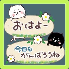 [LINEスタンプ] 春のふきだしスタンプ♡ネコとあいさつ