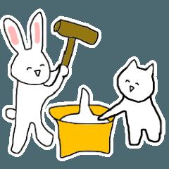 【うごく】ウサギとネコ